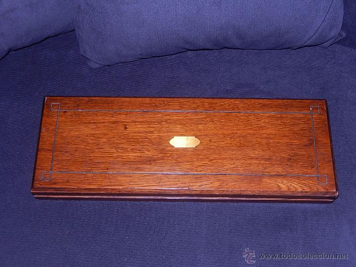 Antigüedades: Extraordinaria caja antigua de cubiertos trinchantes. Posiblemente de fabricación inglesa. - Foto 6 - 52669435