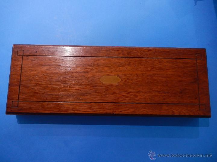 Antigüedades: Extraordinaria caja antigua de cubiertos trinchantes. Posiblemente de fabricación inglesa. - Foto 7 - 52669435