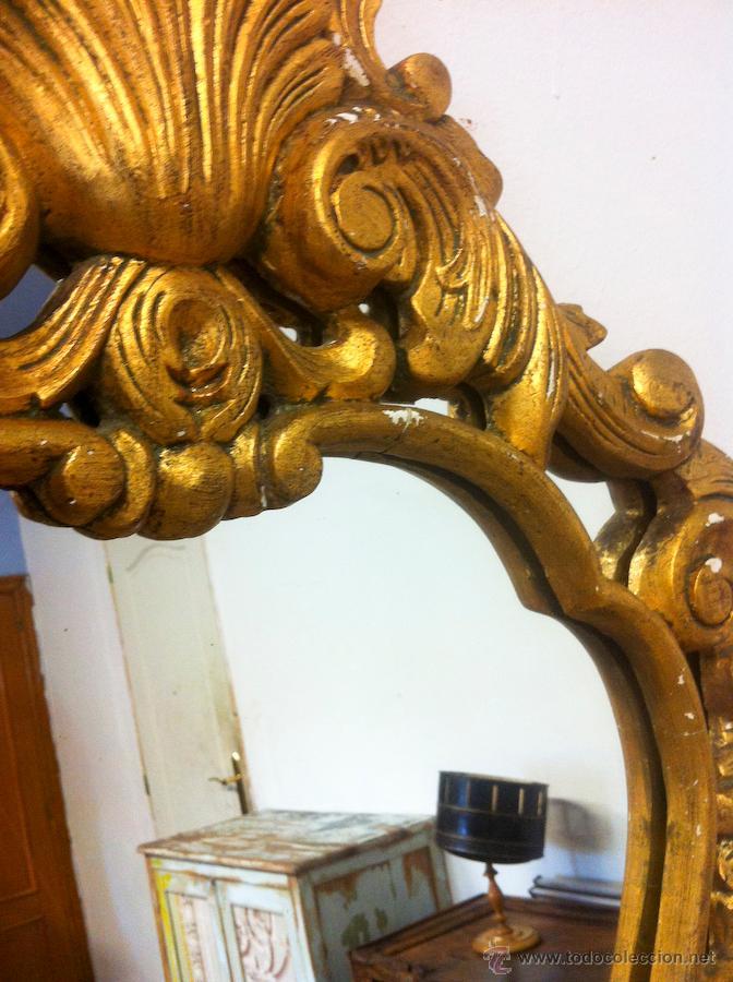 Antigüedades: Antiguo Espejo Cornucopia 86x56 con Pan de Oro - Foto 2 - 66160130