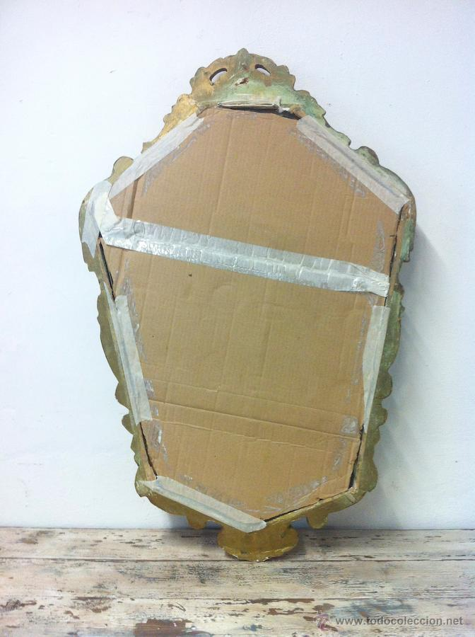 Antigüedades: Antiguo Espejo Cornucopia 86x56 con Pan de Oro - Foto 7 - 66160130
