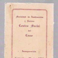 Antigüedades: CARNET DE BAILE SOCIEDAD DE INSTRUCCIÓN Y RECREO CENTRO SOCIAL EL CANO. 1919. Lote 52703419