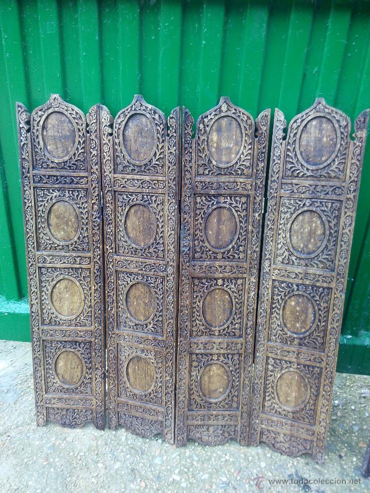 preciosos y antiguos biombos tallados en madera hechos a mano