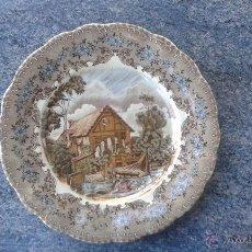 Antigüedades: PLATO MOLINO DE AGUA - LA CARTUJA DE SEVILLA - 25 CM DE DIÁMETRO. Lote 52705606