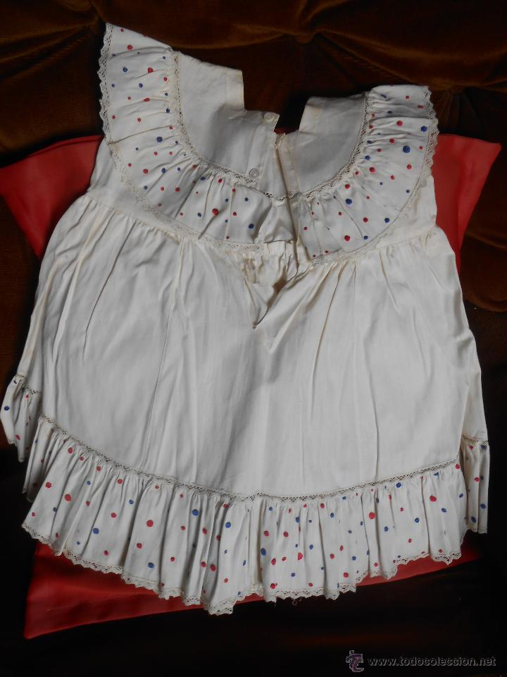 Antigüedades: VESTIDO NIÑA -Con bordados Realizado a mano - año 1947- - Foto 4 - 52737697