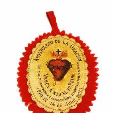 Antigüedades: ANTIGUO ESCAPULARIO DETENTE DE TELA APOSTOLADO DE LA ORACION- GUERRA CIVIL. Lote 48908987