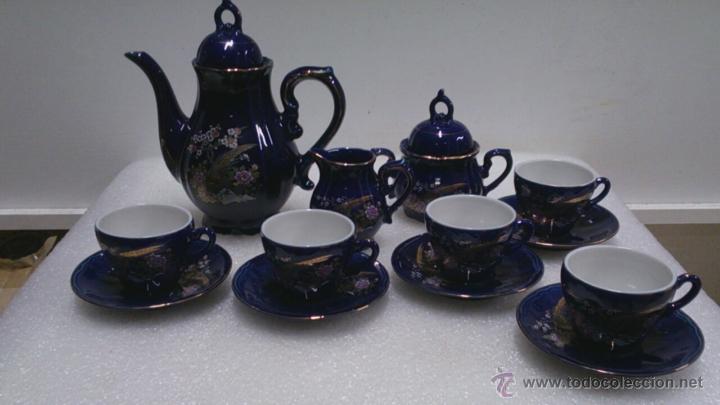 JUEGO CAFÈ JAPONÈS EIHO AZUL ,PARA 5 PERSONAS (Antigüedades - Porcelana y Cerámica - Japón)