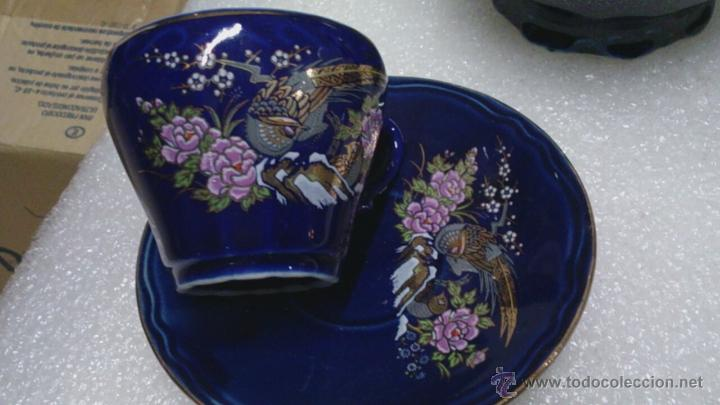 Antigüedades: Juego cafè japonès eiho azul ,para 5 personas - Foto 2 - 52749074