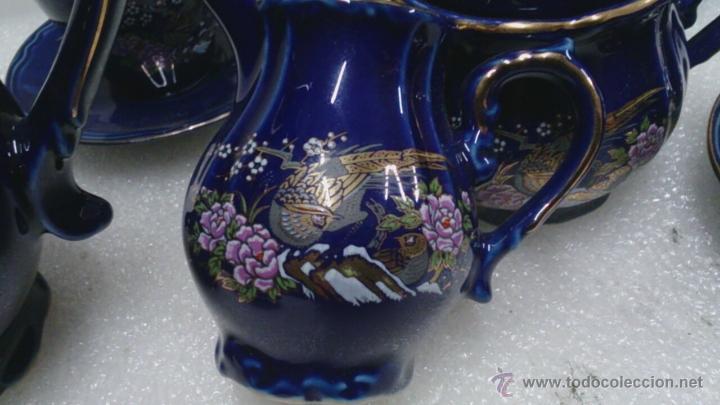 Antigüedades: Juego cafè japonès eiho azul ,para 5 personas - Foto 3 - 52749074