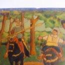 Antigüedades: AZULEJO DE CUERDA SECA DE MENSAQUE ( SEVILLA ) CON QUIJOTE Y SANCHO PANZA. Lote 52754936