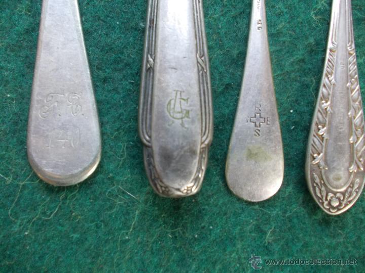 Antigüedades: lote de cucharas y cuchillo con iniciales - Foto 2 - 195185182