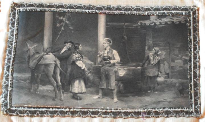 Antigüedades: Bolsa de seda con ilustración para pañuelos del s. XIX (ver fotos adicionales) - Foto 4 - 52781699