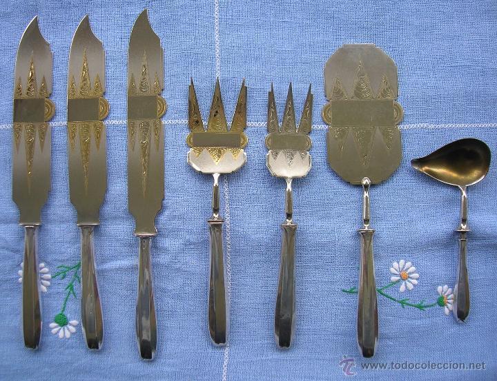 CUBIERTOS SERVIR POSTRE EN PLATA (MANGOS) Y METAL DORADO (Antigüedades - Platería - Plata de Ley Antigua)