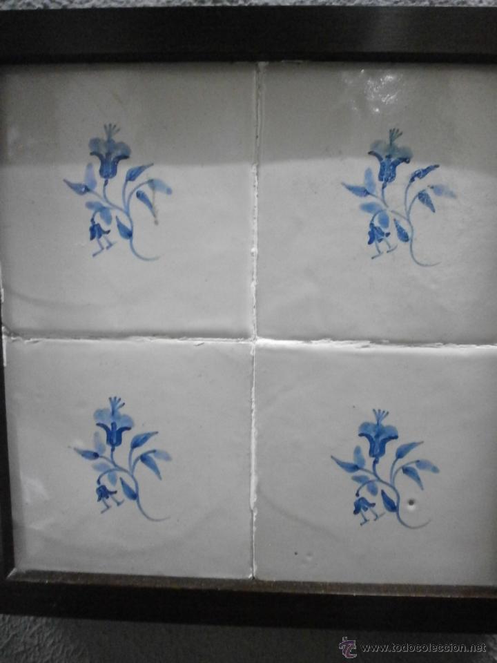 Plaf n de 4 azulejos antiguos catalanes en comprar for Azulejos de cocina de loza