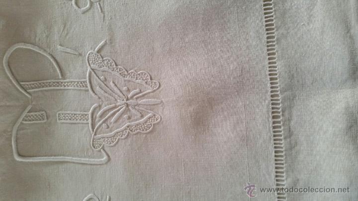 Antigüedades: Antigua sábana de hilo francés. - Foto 3 - 52805405
