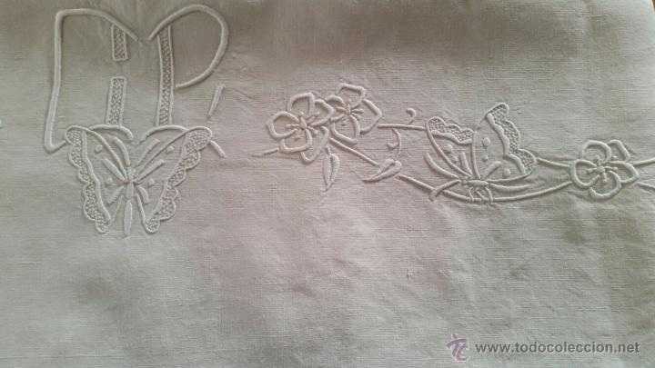 Antigüedades: Antigua sábana de hilo francés. - Foto 5 - 52805405