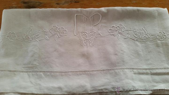Antigüedades: Antigua sábana de hilo francés. - Foto 6 - 52805405