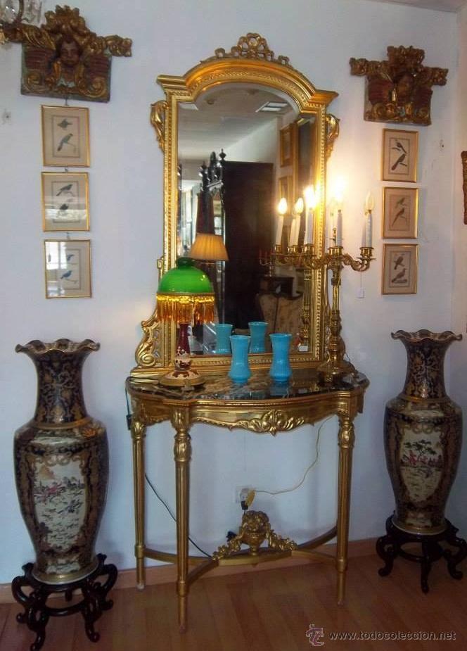 Antigüedades: CONSOLA TALLADA Y DORADA, CON ESPEJO BISELADO. FINALES DEL SIGLO XIX. - Foto 2 - 52811142