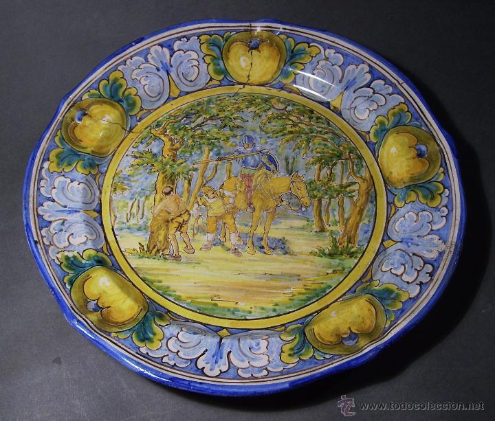 GRAN PLATO CERÁMICA DE TALAVERA XIX ( NIVEIRO ) (Antigüedades - Porcelanas y Cerámicas - Talavera)