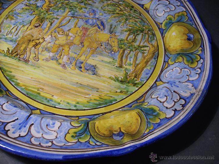 Antigüedades: GRAN PLATO CERÁMICA DE TALAVERA XIX ( NIVEIRO ) - Foto 6 - 52827010