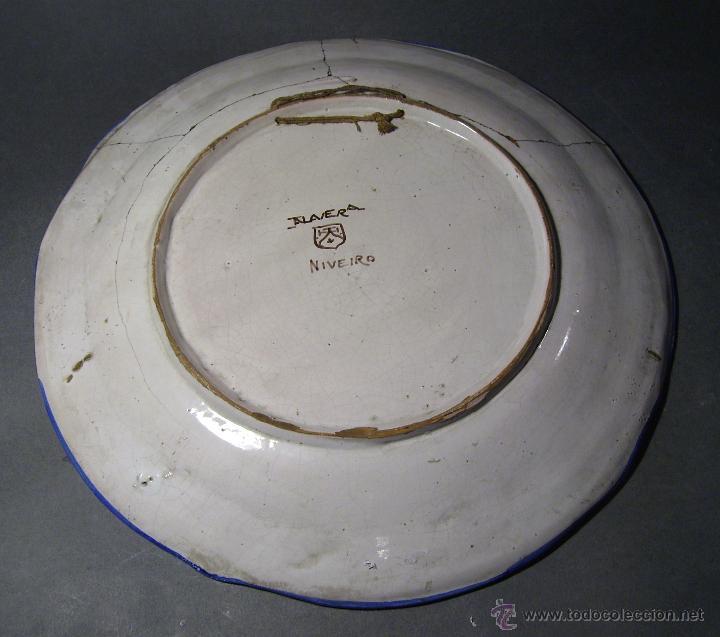 Antigüedades: GRAN PLATO CERÁMICA DE TALAVERA XIX ( NIVEIRO ) - Foto 14 - 52827010