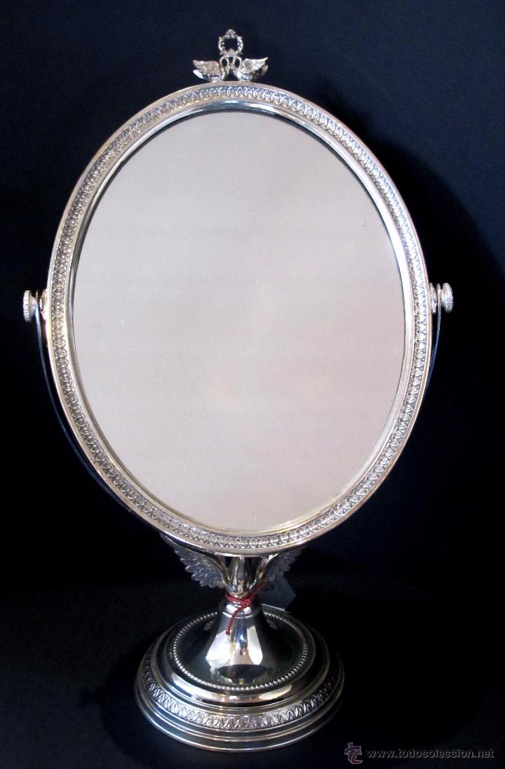 Delicadisimo espejo de plata firmada pedro dura comprar for Espejo ovalado plata