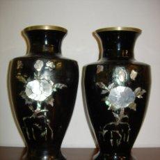 Antigüedades: JARRONES ANTIGUOS, CLOISONNÉ BRONCE Y NACAR. Lote 60787098