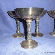 Antigüedades: ANTIGUO JUEGO DE 6 COPAS EN METAL PLATEADO, MED. DE UNA 10X13 CM.. Lote 52859154