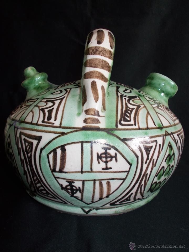 Antigüedades: BOTIJO EN CERÁMICA DE TERUEL, FIRMADA POR DOMINGO PUNTER. EL TOZAL (HUESCA). - Foto 2 - 52866595
