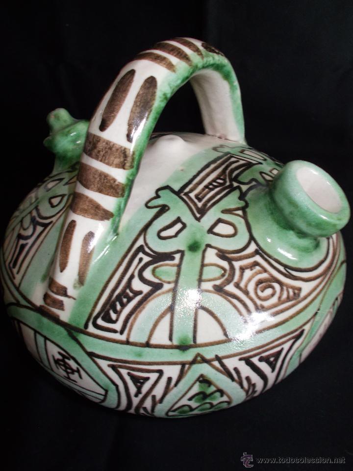 Antigüedades: BOTIJO EN CERÁMICA DE TERUEL, FIRMADA POR DOMINGO PUNTER. EL TOZAL (HUESCA). - Foto 3 - 52866595