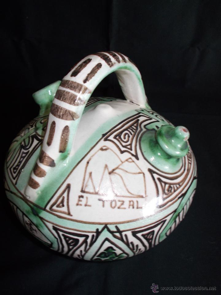 Antigüedades: BOTIJO EN CERÁMICA DE TERUEL, FIRMADA POR DOMINGO PUNTER. EL TOZAL (HUESCA). - Foto 4 - 52866595