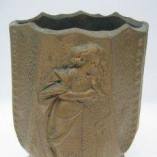 Antigüedades: ANTIGUA TERRACOTA MODERNISTA ORIGINAL ART NOUVEAU - JARRON 1900/20 OLOT. Lote 52870190