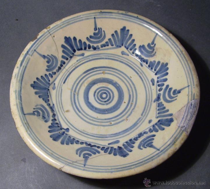 Antigüedades: PLATO CERÁMICA PUENTE DEL ARZOBISPO ( TALAVERA ) XIX - Foto 2 - 52870472