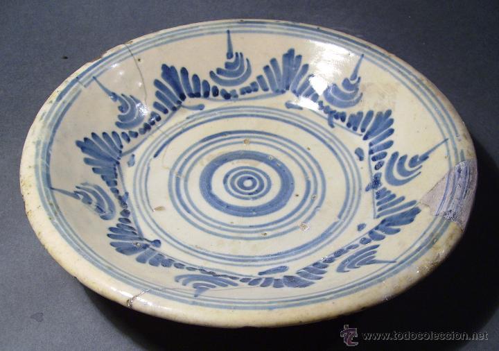 Antigüedades: PLATO CERÁMICA PUENTE DEL ARZOBISPO ( TALAVERA ) XIX - Foto 3 - 52870472