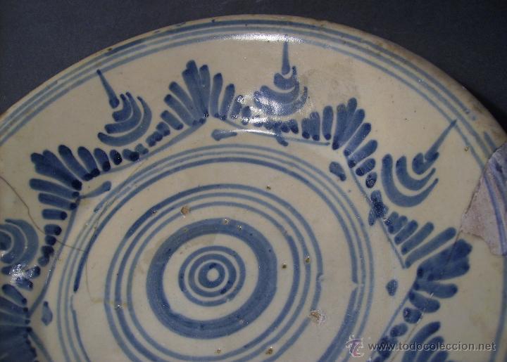 Antigüedades: PLATO CERÁMICA PUENTE DEL ARZOBISPO ( TALAVERA ) XIX - Foto 4 - 52870472