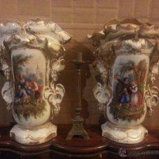 Antigüedades: GIGANTES PAREJA DE JARRONES ISABELINOS 47 X 32 CM VER FOTOS LEER, IDEAL CAPILLA VIRGEN ALTAR. Lote 52891383