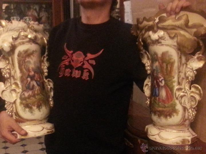 Antigüedades: GIGANTES PAREJA DE JARRONES ISABELINOS 47 X 32 CM VER FOTOS LEER, IDEAL CAPILLA VIRGEN ALTAR - Foto 2 - 52891383