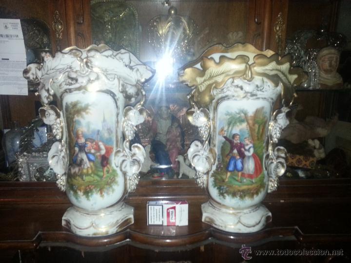 Antigüedades: GIGANTES PAREJA DE JARRONES ISABELINOS 47 X 32 CM VER FOTOS LEER, IDEAL CAPILLA VIRGEN ALTAR - Foto 16 - 52891383