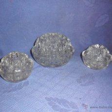 Antigüedades: ANTIGUOS 3 DISTRIBUIDORES DE FLORES PARA JARDINERAS Y FLOREROS. EN CRISTAL . BUEN ESTADO. Lote 52895317