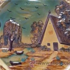 Antigüedades: PRECIOSOS PLATO DECORATIVO CERÁMICA / MOTIVOS ALBUFERA VALENCIANA / ÉPOCA. Lote 52901239
