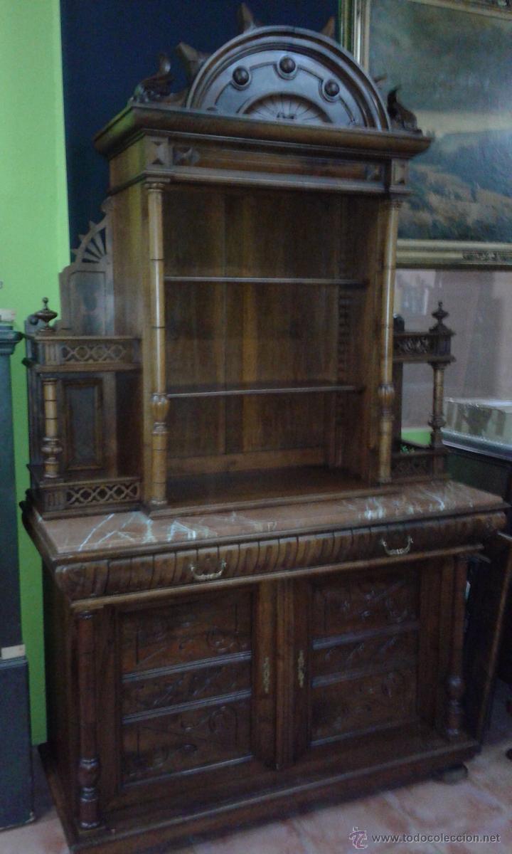 Segunda Mano Antiguedades Muebles : Aparador estilo alfonsino de nogal final del s comprar