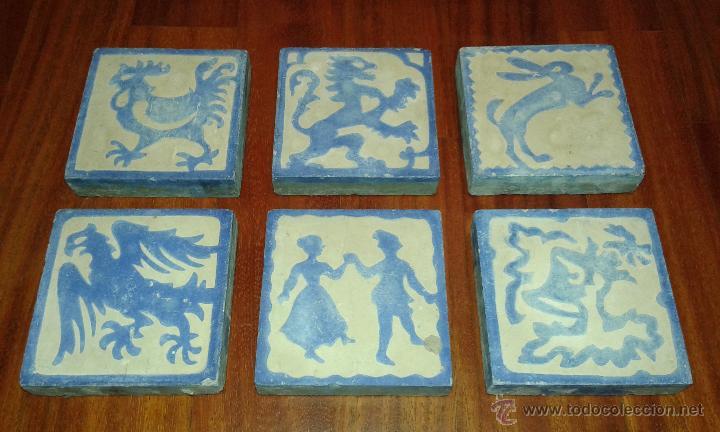 Lote 6 azulejos antiguos con dibujos comprar azulejos - Azulejos clasicos ...