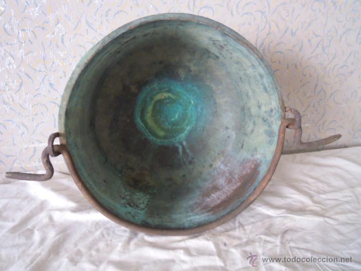 Antigüedades: CALDERO DE COBRE CON ASA DE HIERRO FORJADO - Foto 6 - 52926150