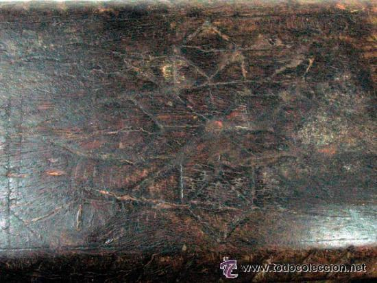 Antigüedades: ANTIGUO SALERO EN MADERA TALLA GEOMETRICA ETNOGRAFIA ASTURIAS - Foto 4 - 52932063