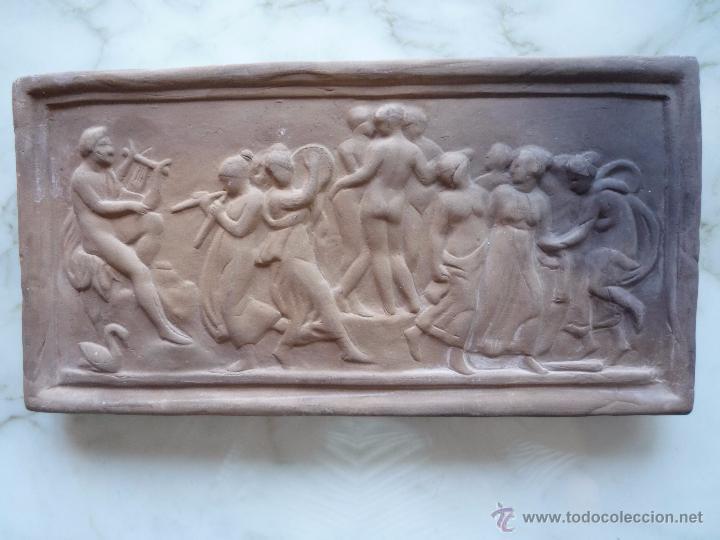 Antigüedades: Placa Relieve Estuco ESCENA MITOLÓGICA Terracota Terrissa CERÁMICA NEGRA CATALANA años 40 ¡Único TC! - Foto 5 - 52934151