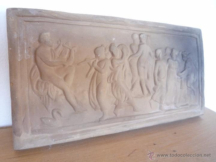 Antigüedades: Placa Relieve Estuco ESCENA MITOLÓGICA Terracota Terrissa CERÁMICA NEGRA CATALANA años 40 ¡Único TC! - Foto 8 - 52934151