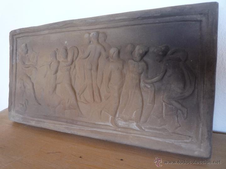 Antigüedades: Placa Relieve Estuco ESCENA MITOLÓGICA Terracota Terrissa CERÁMICA NEGRA CATALANA años 40 ¡Único TC! - Foto 9 - 52934151