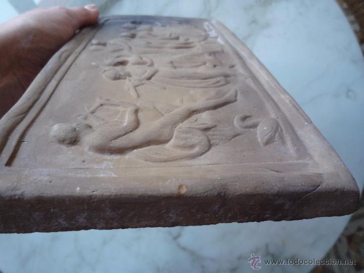 Antigüedades: Placa Relieve Estuco ESCENA MITOLÓGICA Terracota Terrissa CERÁMICA NEGRA CATALANA años 40 ¡Único TC! - Foto 12 - 52934151