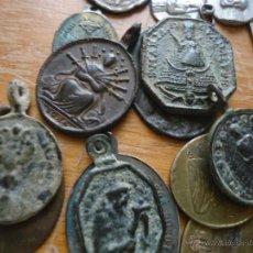 Antigüedades: GRAN LOTE 16 MEDALLAS ANTIGUAS SIGLO 17 18 19 20 VIRGEN DOLOROSA SAN FRANCISCO SAN ANTONIO. Lote 52936615