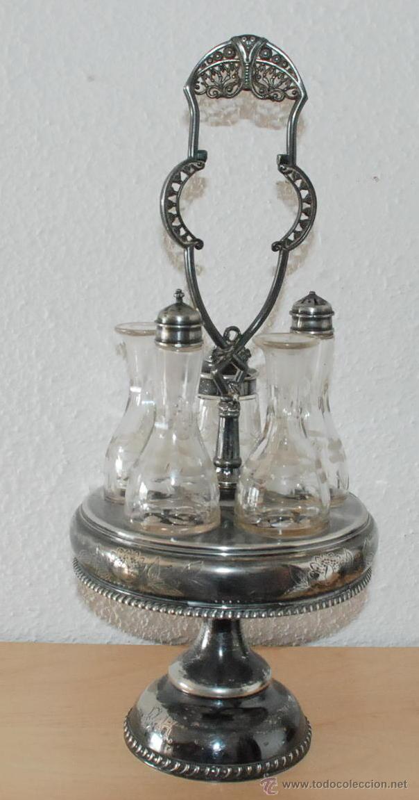 SET CARRUSEL CONDIMENTOS WILCOX SILVER PLATE QUADRUPLE PATENTE AÑO 1878 (Antigüedades - Platería - Bañado en Plata Antiguo)
