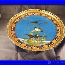 Antigüedades: CENTRO CLOISONNE ANTIGUO ENGARZADO EN BRONCE. Lote 52947459